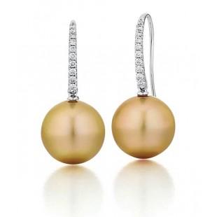 Custom made Golden South Seas pearl earrings