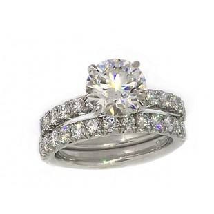 2.03 ct round brilliant cut diamond handmade 1.73 c.t.w. pave' platinum wedding set