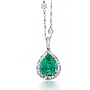 Custom made Green Tourmaline and diamond pendant