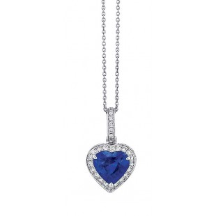 Heart Shaped Sapphire Pendant with Halo