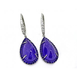 16.34 c.t.w. cabochon Tanzanite earrings with pave' sapphire halos and lever backs
