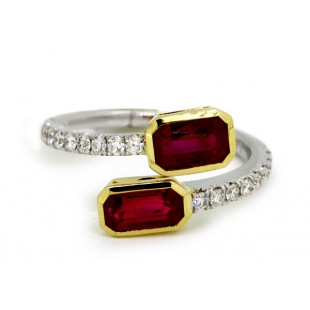 18k white gold pave' diamond with 2.10 c.t.w. yellow gold bezel set emerald cut rubies wrap band