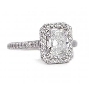 Radiant Cut Diamond Halo Engagement Ring