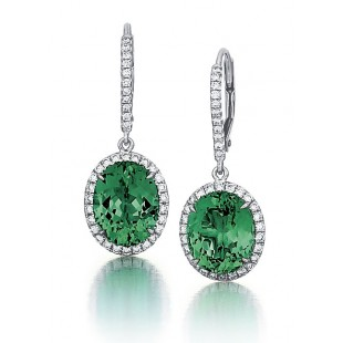 Green Tourmaline Halo Earrings