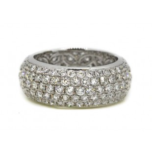 9 row wide 2.27ctw domed diamond pave' band in platinum