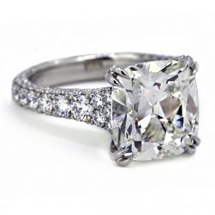 Handmade platinum 3-sided tapering pave' 5.02ct cushion diamond ring