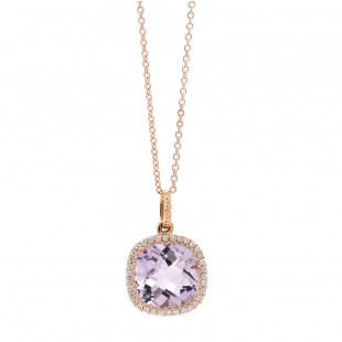 Pinkberry Amethyst Rose Gold Halo Pendant