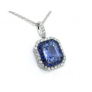 2.58ct sky blue sapphire double pave halo pendant
