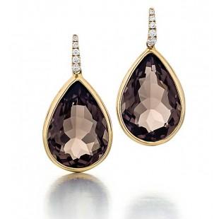 Smokey Quartz earrings in 18k yellow gold