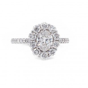 Oval Diamond Flower Halo Ring