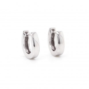 "White Gold "" U Huggie"" Earrings"