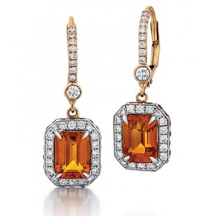 Orange Sapphire Drop Earrings