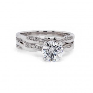Pave Twist Style Wedding Set