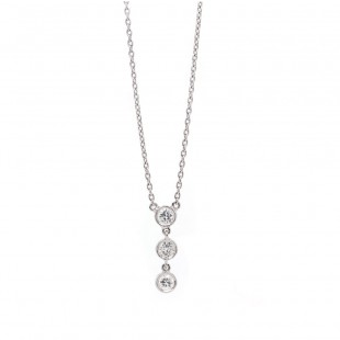 White Gold Three Bezel Diamond Necklace