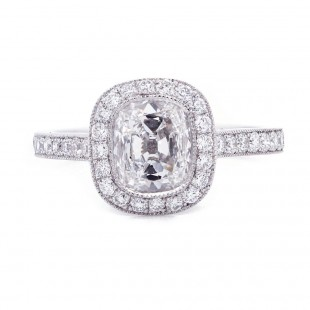 Antique Cushion Cut Diamond Engagement Ring