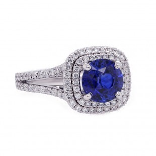 Royal Blue Sapphire Double Halo Split Shank Ring