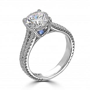 Split Shank Inverted Sapphire Engagement Ring