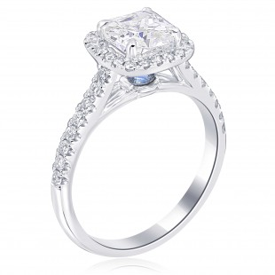 Cushion Halo Engagement Ring with Inverted Sapphire