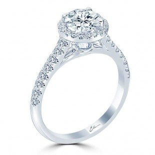 Halo Engagement Ring with Inverted Diamond