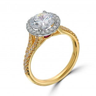 Yellow Gold Split Shank Halo Engagement Ring