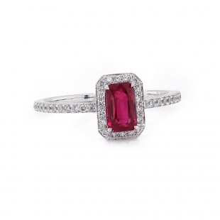 Radiant Cut Ruby Halo Ring