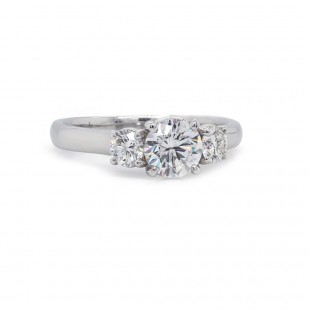 Three Stone Cross Prong Diamond Ring