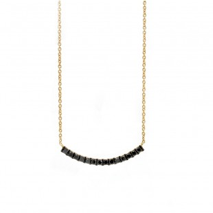 Yellow Gold Curved Bar Black Diamond Necklace