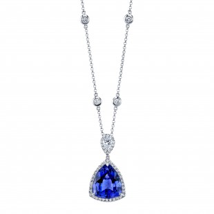 Tanzanite Pendant with Halo