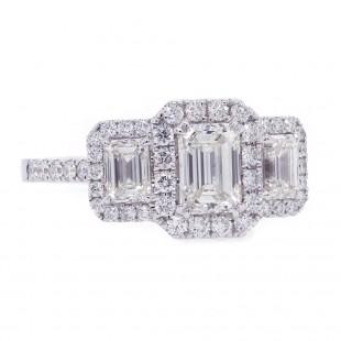 Emerald Cut Diamond Three Stone Halo Ring