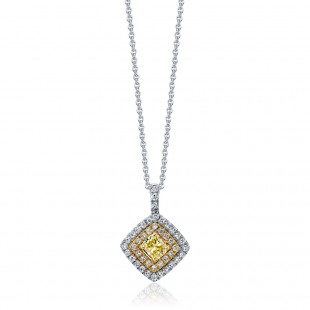 Princess Fancy Yellow Diamond Pendant