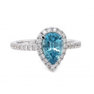 Pear Blue Zircon Halo Ring