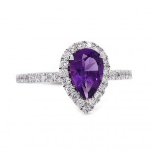 Amethyst Halo Ring White Gold