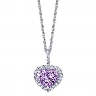 Lavender Sapphire Heart Pendant