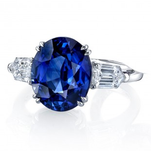 Oval Blue Sapphire and Diamond Ring