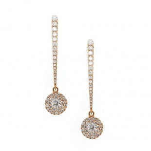 Rose Gold Diamond Pave Disc Drop Earrings