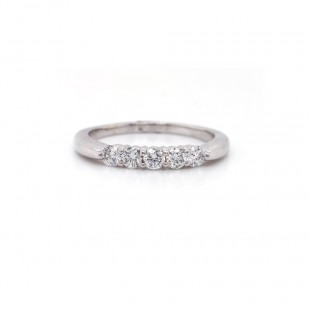 White Gold Shared Prong Diamond Band .45CT TW