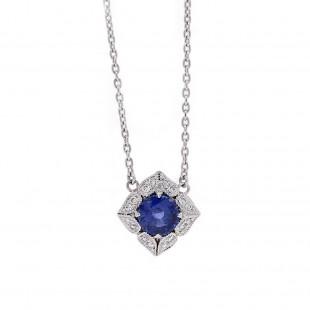 Royal Blue Sapphire Vintage Pendant