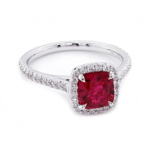 Cushion Ruby Diamond Halo Ring