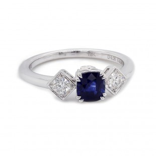 Sapphire and Diamond Three Stone Ring
