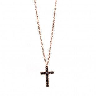 Rose Gold Black Diamond Cross Necklace