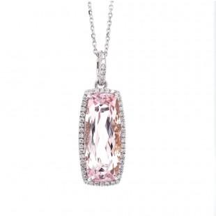 Morganite Diamond Halo Pendant