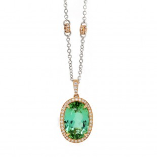 Green Tourmaline Rose Gold Halo Pendant