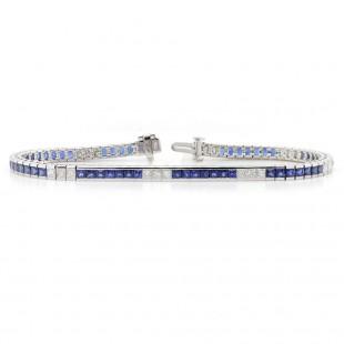 Sapphire and Diamond Channel Bracelet