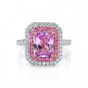 Unheated Pink Sapphire Engagement Ring