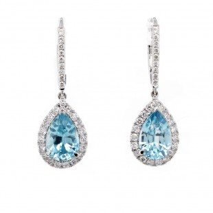 Blue Zircon Pear Drop Earrings