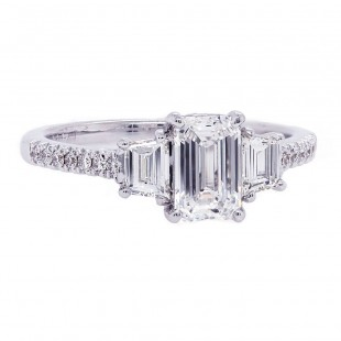 Emerald Cut Diamond Ring with Trapezoid Sides
