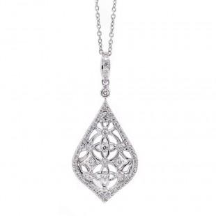 Filigree Drop Diamond Pendant