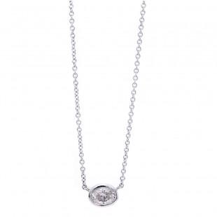 Delicate Oval Diamond Solitaire Pendant