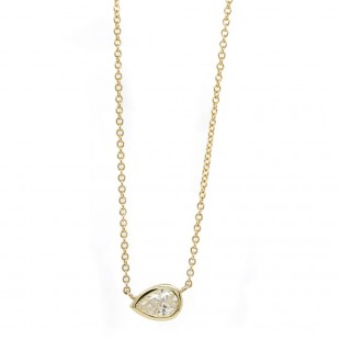 Yellow Gold Delicate Diamond Solitaire Pendant