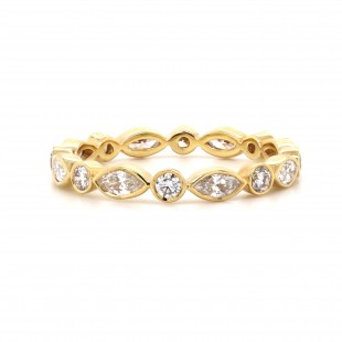 Marquise and Round Alternating Ring